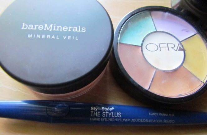 bare minerals tinted mineral veil, ofra magic roulette wheel, styli-style stylus liquid eyeliner