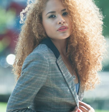 Naturally Curly Hair in Plaid blazer