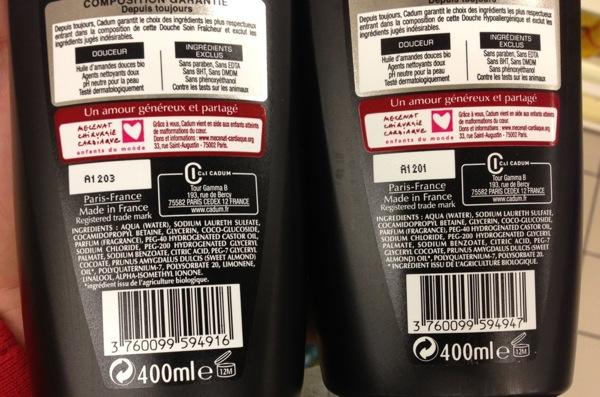 Cadum etiquettes