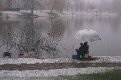 Dimanche 1 février 2015 : des pêcheurs sous la neige