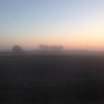 La campagne dans la brume matinale