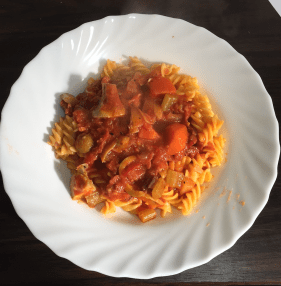 Spicy carrot marinara pasta