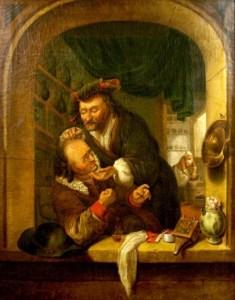 Gemälde: Mann lässt seine Kopfverletzung behandeln