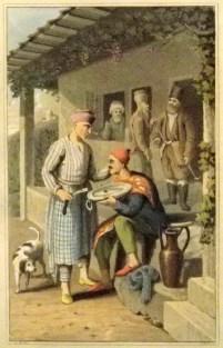 Gemälde: Kunde hält Schale, Barbier mit Rasiermesser