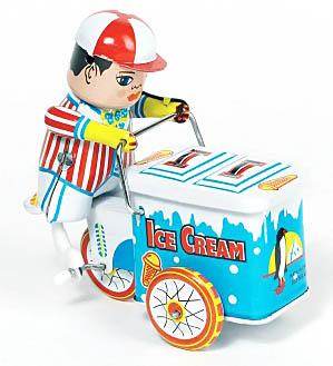 altes buntes Blechspielzeug: Eisverkäufer