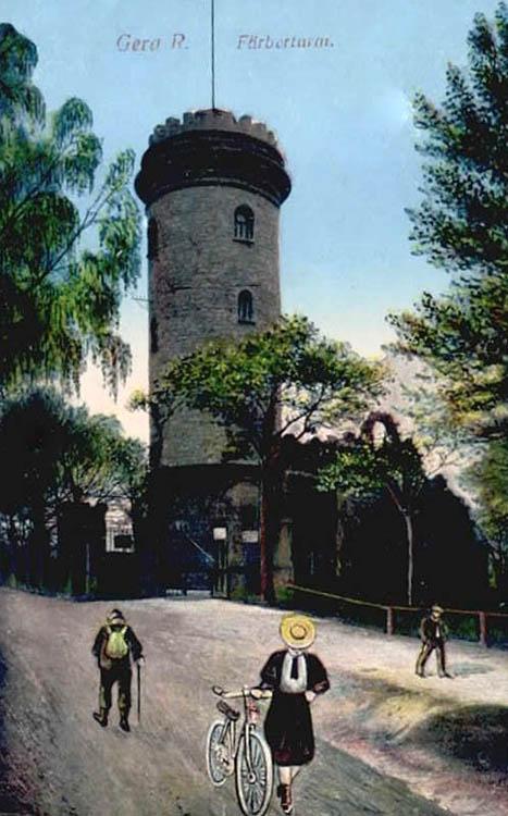 Postkarte: Färberturm von außen