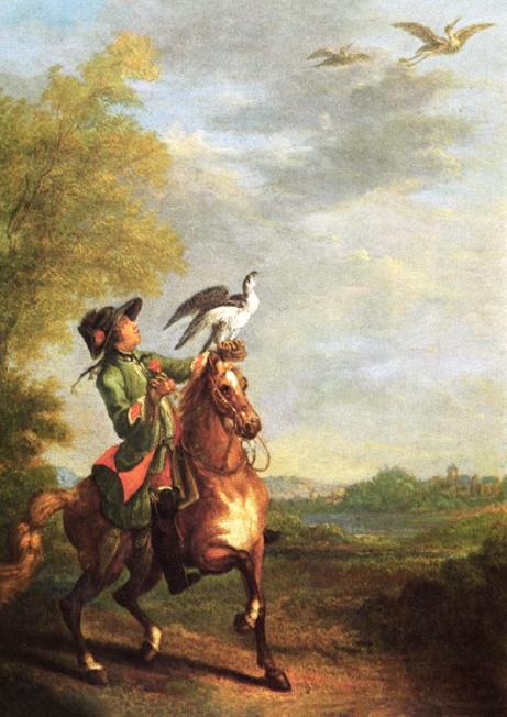 Gemälde: den Falke abhaubend