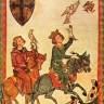 Aquarell auf Pergament: zu Pferd auf Falkenjagd