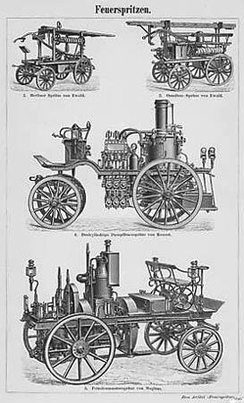sw-Zeichnung von Feuerspritzen von 1894