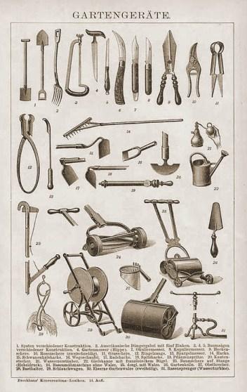 Abbildungen von Gartenwerkzeugen im Lexikon