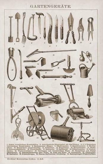 Abbildungen von Gartenwerkzeugen im Brockhaus 1900