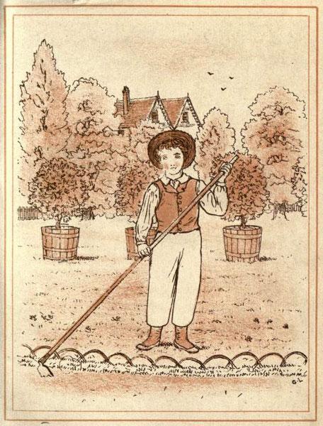 alte monochrome Zeichnung: Gärtner bearbeitet Erde