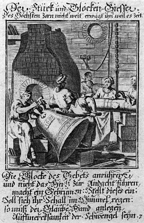 sw-Stich: Glockengießer bei der Arbeit - mit Sinnspruch