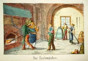 farbige Illustration: Glockengießer