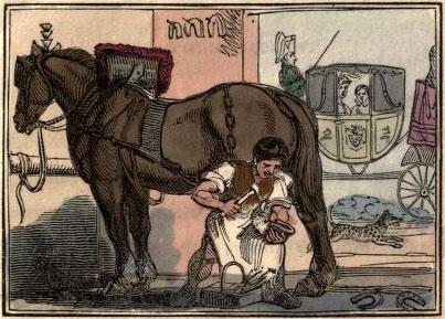farbige Illustration: Hufschmied beschlägt Pferd - Kutsche wartet