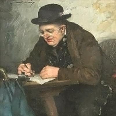 Ölbild: Der Herr Bürgermeister beim Schreiben eines Briefes.