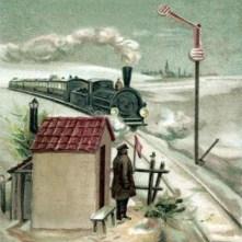 Aquarell: Bahnwart wartet vor seinem Wärterhäuschen auf einen sich nähernden Zug - 1885