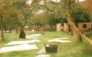 Ölbild. Eine Frau und ein Mann legen Stoffe im Garten auf den Rasen zum Bleichen.