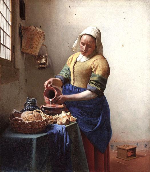 Gemälde: Küchenmagd bereitet Frühstück zu