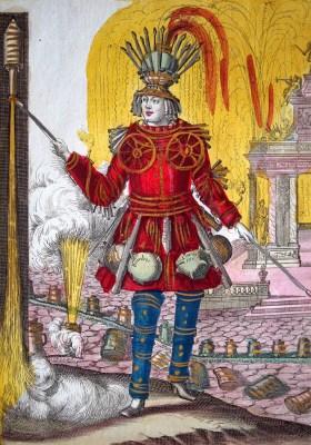 alter Kupferstich: Feuerwerker mit Raketen
