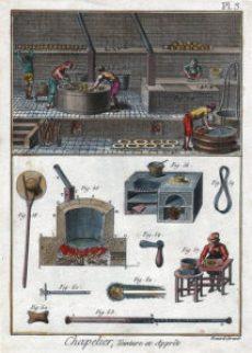 alte Abbildung: Hutmacherwerkstatt
