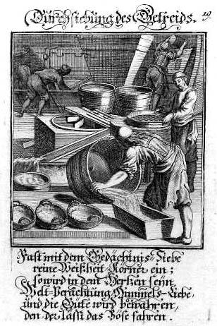 Getreidedurchsiebung in der Mühle mit Sinnspruch