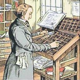 Schriftsetzer am Setzkasten