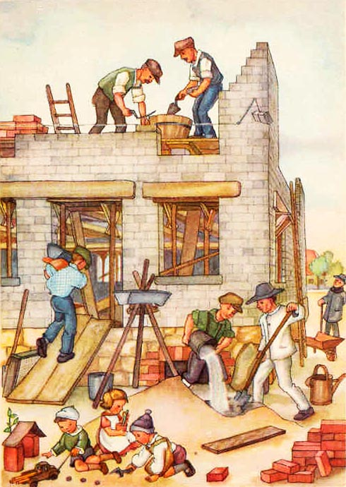 Bauarbeiter verschiedener Gewerbe beim Hausbau