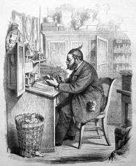 sw-Zeichnung: Buchhändler am Schreibpult