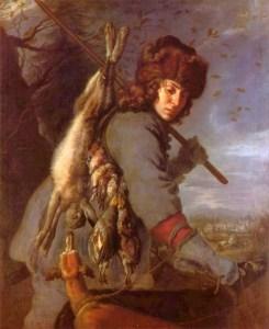 Gemälde: Jäger mit Jagdhund. Mit erlegtem Hasen und Vögeln über der Schulter.