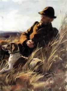 Gemälde:Waidmann mit Hund im Gras
