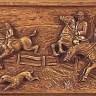 Holzrelief: Jagdszene: Fuchsjagd zu Pferde