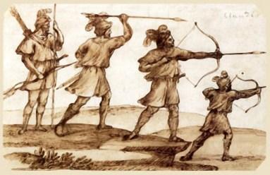 alte Federzeichnung. Jägerstudie, Jäger mit Pfeil und Bogen