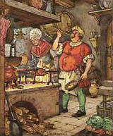 Sammelbild: Koch beim Abschmecken des Essens