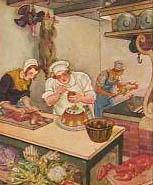 alte farbige Illustration: Koch mit Gehilfen in der Küche