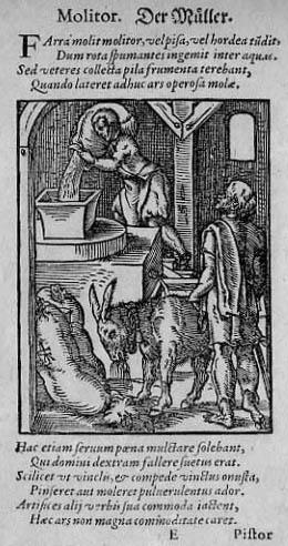 ganz alter Stich: Müller mit lateinischem Text