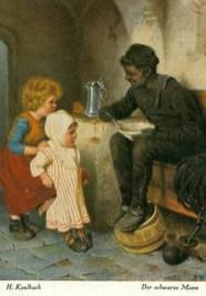 Schornsteinfeger in der Wohnstube, 2 Kinder