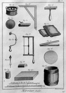 sw-Abb.: Spiegelproduktion: Werkzeuge und Zubehör der Spiegelmacher