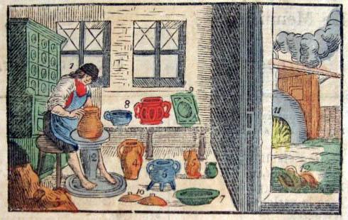 farbiger Holzstich: Töpfer an der Töpferscheibe in der Töpferei