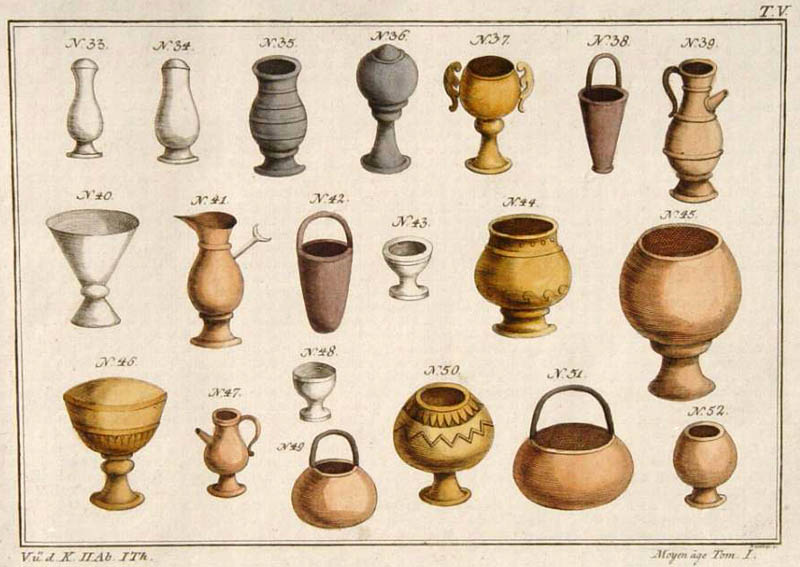 Lithografie: Tongefäße des Mittelalters