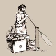 lavierte Zeichnung: zeigt Mann beim Glasblasen