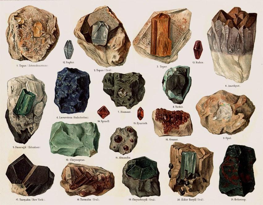Farblitho: diverse Rohedelsteinen - 1878