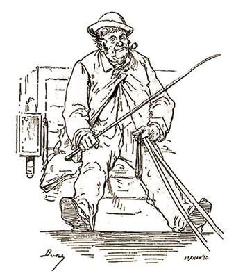 sw-Zeichnung: Kutscher auf Kutschbock sitzend mit Peitsche in der Hand und Pfeife im Mund
