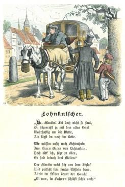 Kolorierter Holzstich: auf Kutschbock schlafender Kutscher, Pferd hat einen Hafersack umgehängt, rechts davor Fahrgast mit Junge