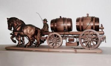 Kutscher, Pferdefuhrwerk, Weinfässer, Transport, Fuhrmann