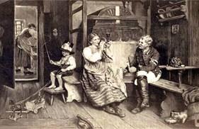 Holzstich: auf Ofenbank sitzt rechts der Kutscher Pfeife rauchend in Arbeitsuniform nebst Stiefel, mittig sitzt das Posthorn ausprobierend seine Frau, links davon mit Füßen auf einem Schemel mit Vaters Stockpeitsch in der rechten und Zügel einer Spielzeug-Pferdekutsche in der linken Hand der Sohnemann mit Vaters Zylinder auf dem Kopf