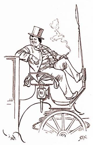 Zeichnung: Lustiger Kutscher raucht auf dem Kutschbock sitzend eine Zigarre, während er auf Kundschaft wartet
