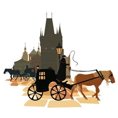 schattenrißartige Darstellung: 2 Pferdekutschen vor Schloss unterwegs in entgegengesetzter Richtung