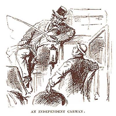 Kutscher auf dem Kutschbock sitzend mit Peitsche in der Hand und im Gespäch mit in die Kutsche steigendem Fahrkunde