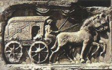 römischer Kutscher, Kutsche, Pferde
